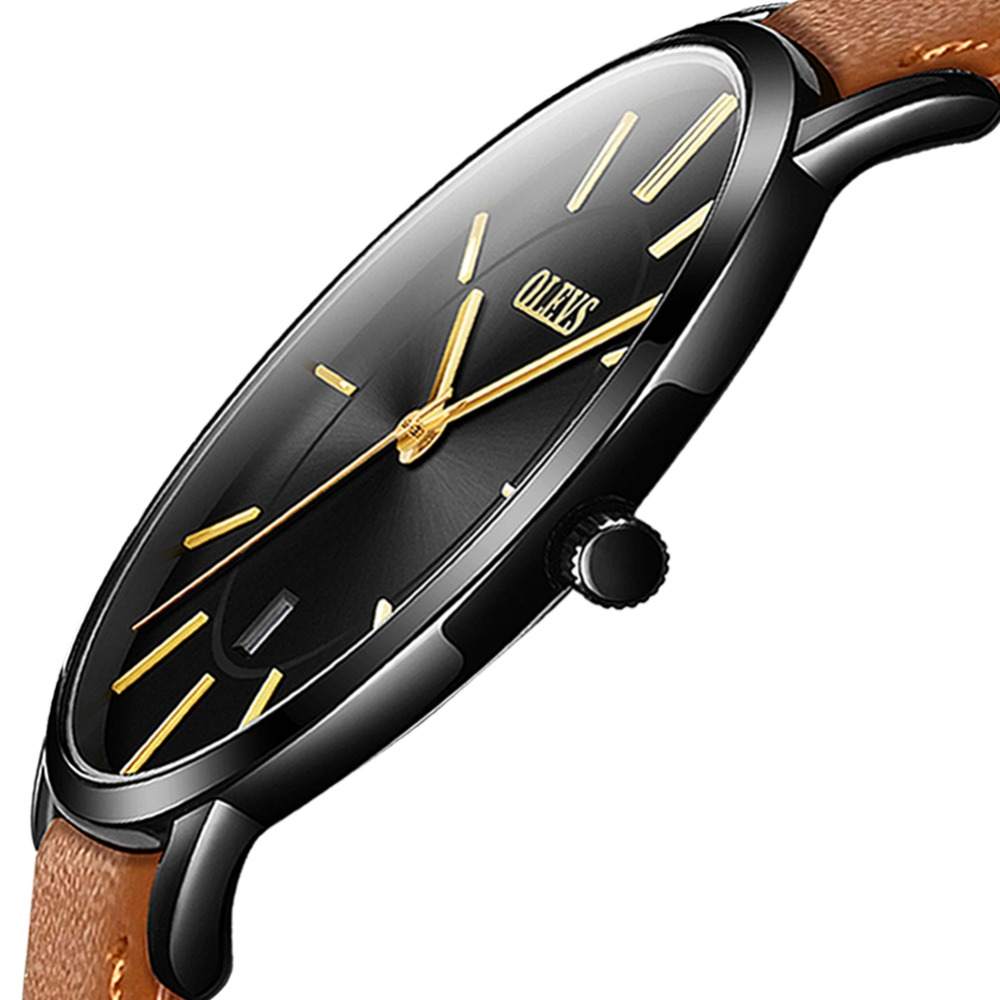 მამაკაცის საათები ტოპ ბრენდი Luxury Ultra თხელი Watch მამაკაცები წყლის რეზისტენტული ტყავის კვარცი Watch სპორტული მაჯის საათები ყოველდღიური ტანსაცმელი