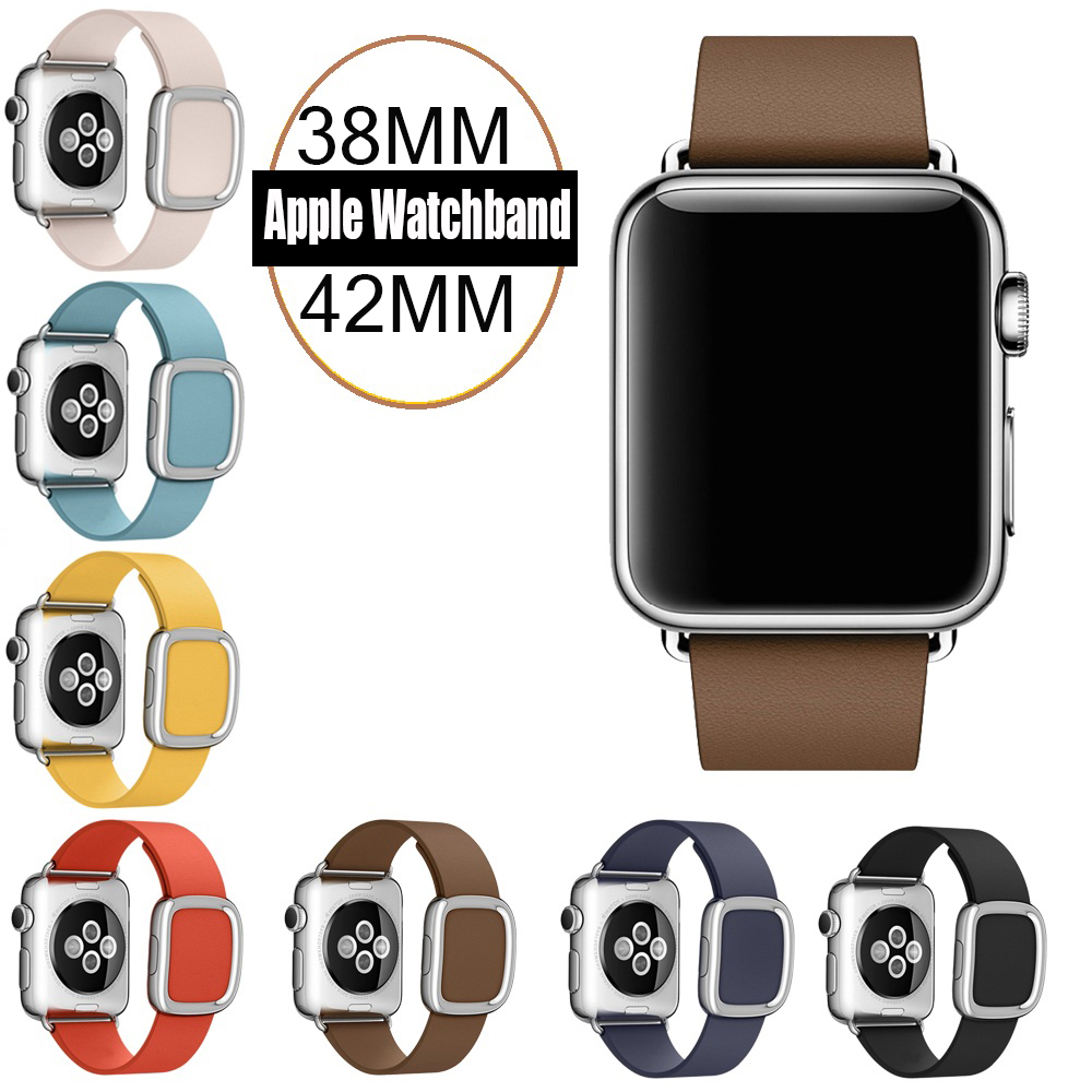 7 Colors Original 1 1 Modern Buckle Leather band for Apple Watch band 42mm 38mm Stainless