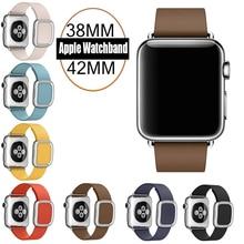 7 Цвета в Исходном 1:1 Современные Пряжка Кожаный ремешок для Apple Watch band 42 мм и 38 мм Из Нержавеющей Стали ремешок для Apple iWatch
