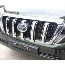 ABS Cromado Parrilla Delantera Cubierta Etiqueta Engomada Del Coche Adecuado para Toyota Prado 2700 2014-2016 Car Styling Accesorios