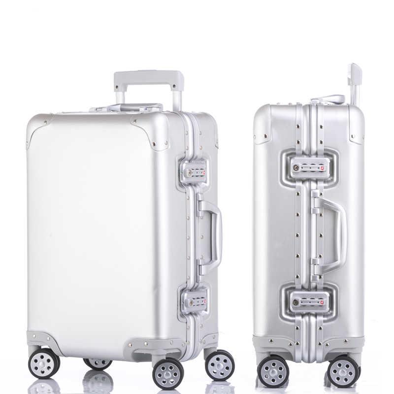 Новая мода Алюминий сплав тяга чемодан 20 24 29 дюймов из металла багажа  модный d0624c641c9