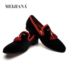 MEIJIANA Tassel Men Shoes Italy Style Round Toe Loafers Men Breathable Slippers Flats Handmade Men's Party And Wedding Shoes new gold toe and gold crystal handmade men loafers men fashion leather slippers men party and wedding dress shoes men s flats
