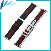 Genuine Leather Nylon Watchband For IWatch Apple Watch Sport Edittion 38mm 42mm Strap Band Loop Belt