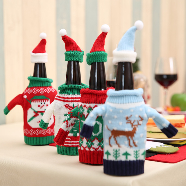 2pcs/set Christmas Decorations Wine Bottle Sweater Cover Bag Santa Claus Knitting Hats for New Year Xmas Home Dinner Party Decor 1
