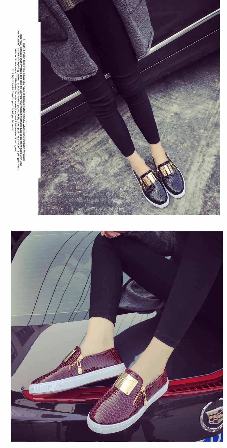 2016 Spring New Fashion Sequined Female Flats Shallow Mouth Platform Loafers Zipper Lazy Ladies Shoes Big Size 36-40 ST204 (10)