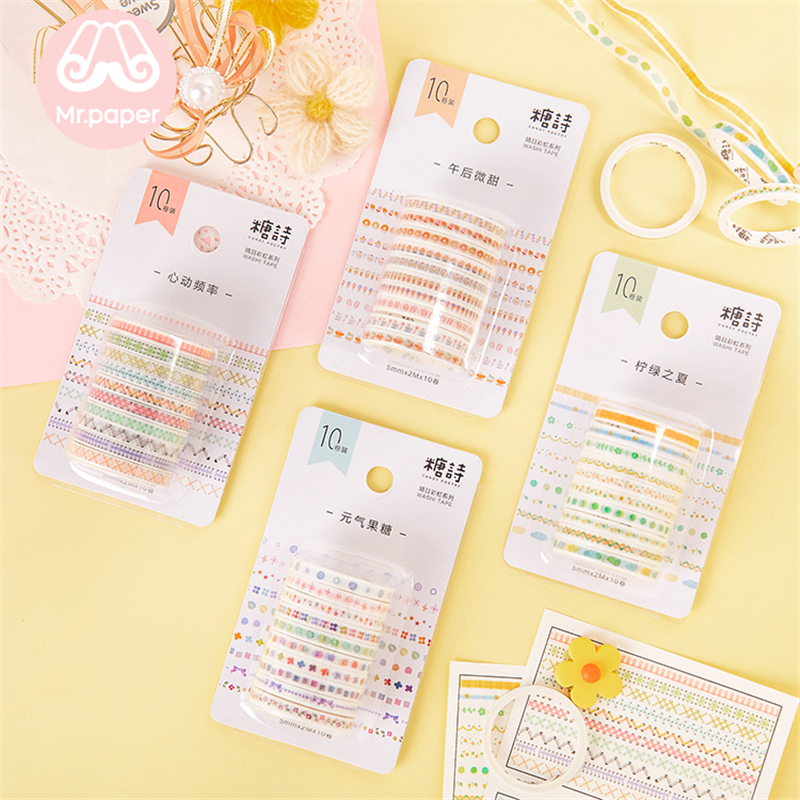Mr Paper 10pcs/set 5mm*2m Colourful Rainbow Line Scrapbooking Cut-off Rule Washi Tapes Bullet Journaling Deco Masking Tapes