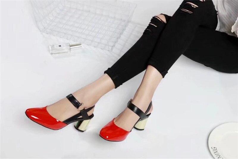 Schuhe Frau as Show Sapato Alias As Feminino Gold Pumpen Sommer Metall Sandalen Heels Chunky Lackleder Zapatos Show Mode Überzug Mujer YUw0BqW