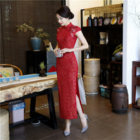 New Red Chinese Style Bride Wedding Party Dress Women Lace Sexy Handmade Button Qipao Novelty Plus Size 3XL Long Cheongsam