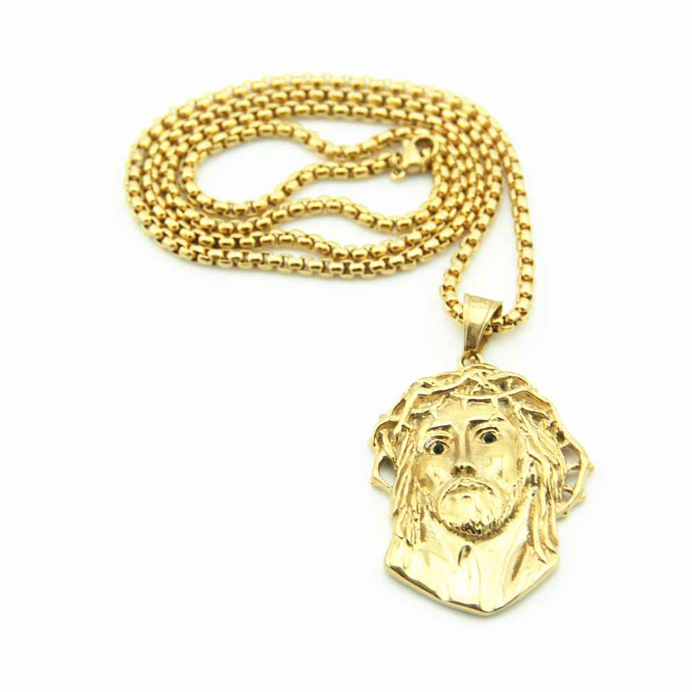 Hiphop Gold Jesus Link Chain Necklaces Men Choker Necklace Women Hip Hop Neckless Best Friend Necklace Male Accessories