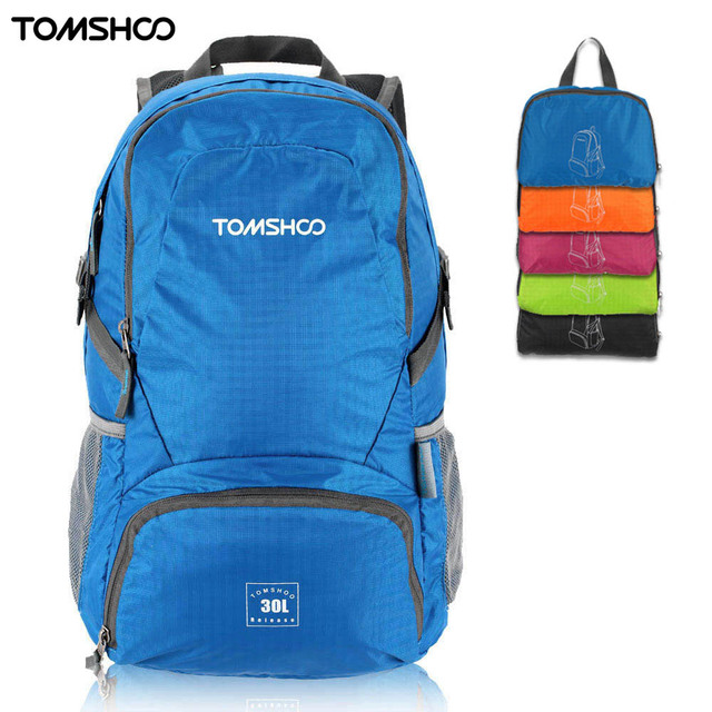 TOMSHOO Foldable Backpack 30L Waterproof Climbing Bag Rucksack Outdoor Sports Bag Women Men Travel Hiking Camping Shoulder Bag
