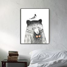 Watercolor Mr.Bear Nordic Poster Pictures Wall Artwork Canvas Painting Calligraphy Prints Decoration For Living Room Bedroom