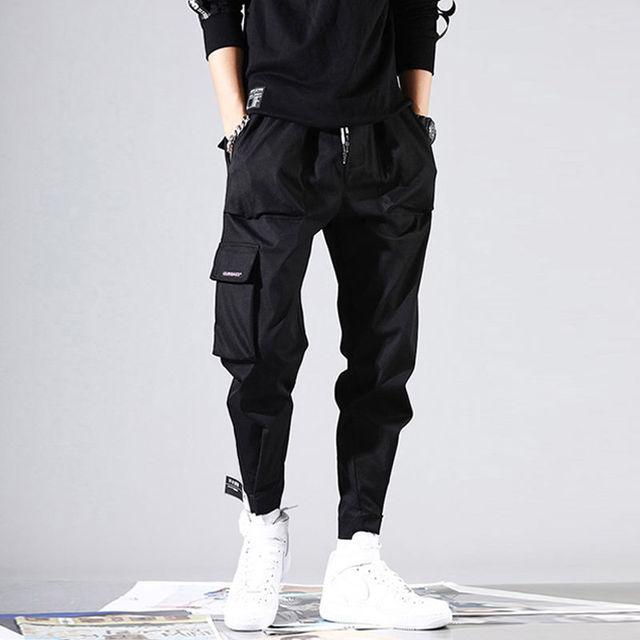2020 Men Multi-pocket Elastic Waist Design Harem Pant Street Punk Hip Hop Red Casual Trousers Joggers Male Army Cargo Pants XXXL 31