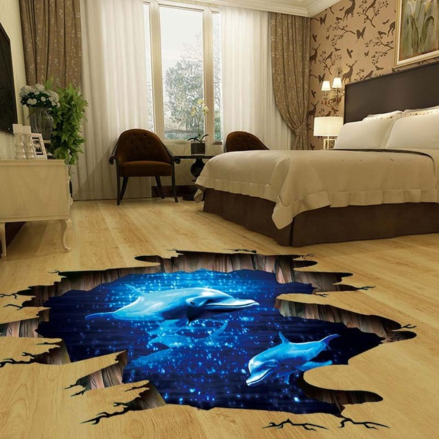 Dreamlike Blue Ocean Dolphin 3D Wall Stickers Dolphin Wall Decals For Kids  Room Baby Bedroom Ceiling