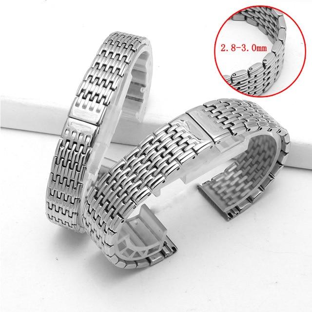 Watch accessories ladies stainless steel strap For Longines stainless steel strap mens sports waterproof silver strap 13mm 18mm