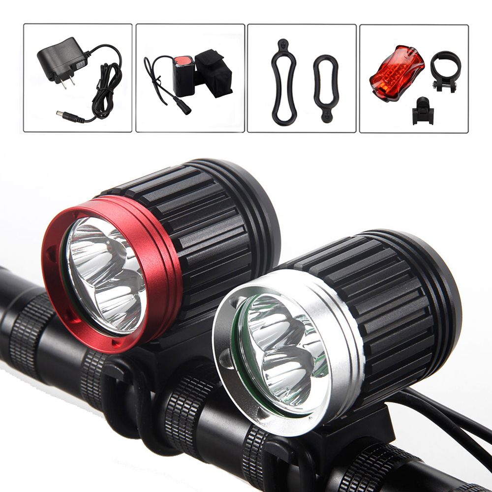 Waterproof 6000 Lumens Headlight 3*XM-L T6 LED Bicycle Lamp Bike Light Front Headlamp + 8.4v Battery Pack +Rear Light 18000 lumens bike headlamp flashlight 9x cree xm l2 led bicycle light cycling helmet headlight 18650 battery pack charger