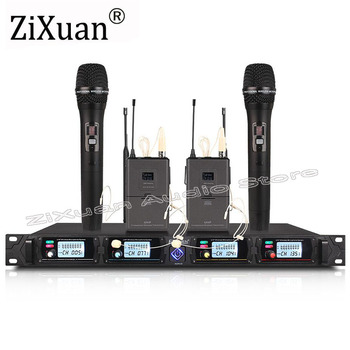 Top quality!!! UHF 4 Channel Wireless Stage Microphone System with 2 Handheld 2 Headset Lavalier Mic  Wireless Microphone System