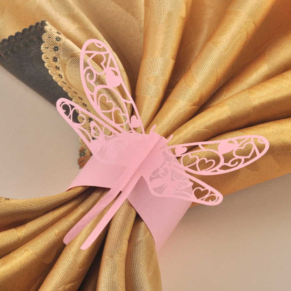 120PCS Pink laser cut Dragonfly paper napkin Rings Holders Party ...