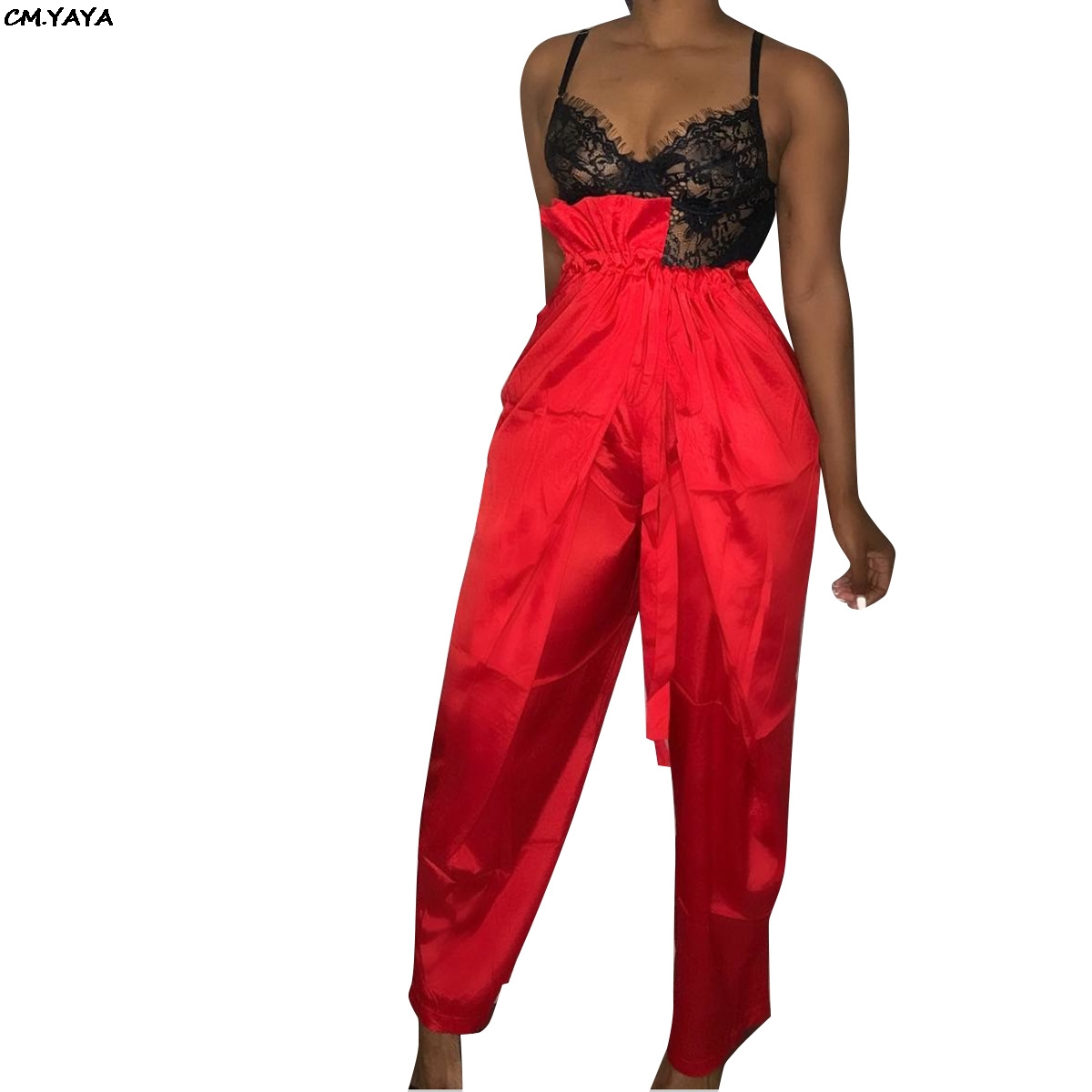 Sexy Pants Women Active-Wear Long-Trousers Ruffles Vintage Black High-Waist New Red Elastic