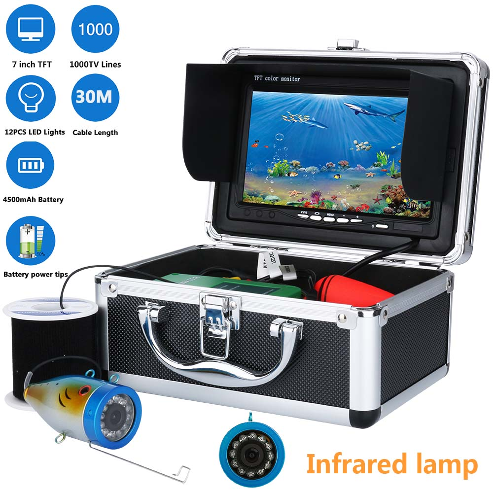GAMWATER Underwater Fishing Video Camera 7 Color HD Monitor 12pcs IR LED 30m Professional Fish Finder
