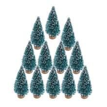 ship from us 12pcs small diy christmas tree fake pine tree mini sisal bottle brush christmas tree santa snow frost village house new year - Mini Christmas Village Houses