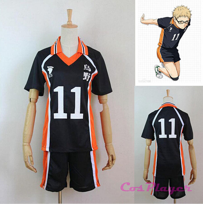 New Arrival Anime Karasuno High School Club Haikyuu!! Cosplay Costume Tsukishima Kei No.11 Jerseys