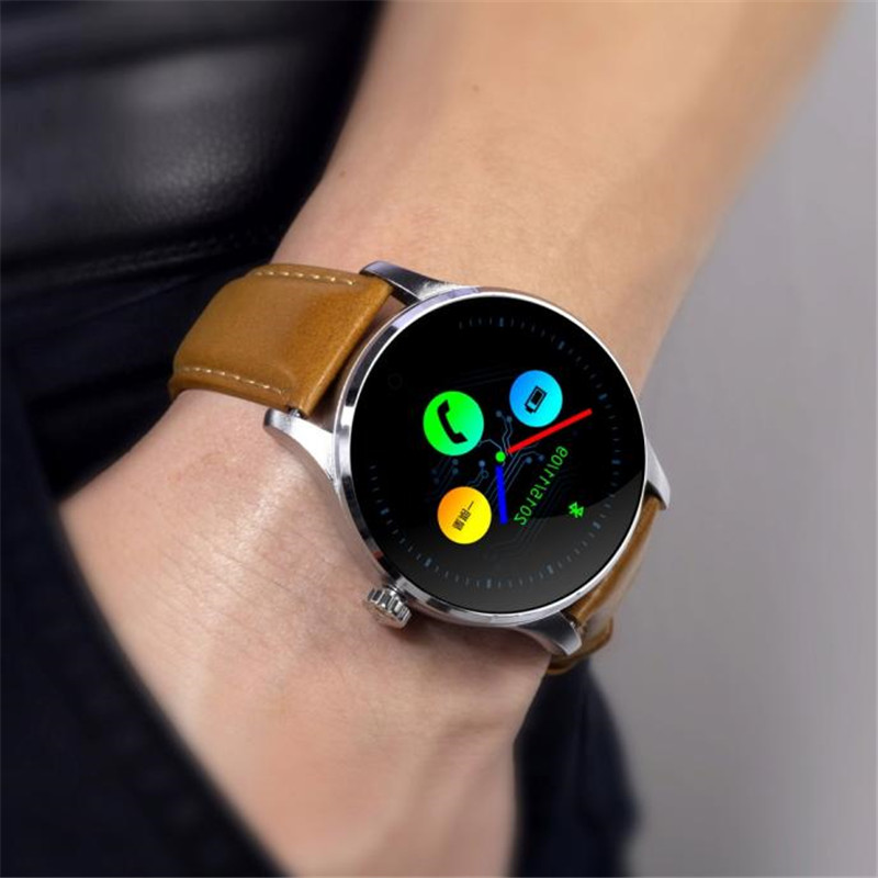 K88H MTK2502C Bluetooth Smart Watch HD IPS Heart Rate Track Wristwatch Leather Information push Replaceable Touch Wholesale