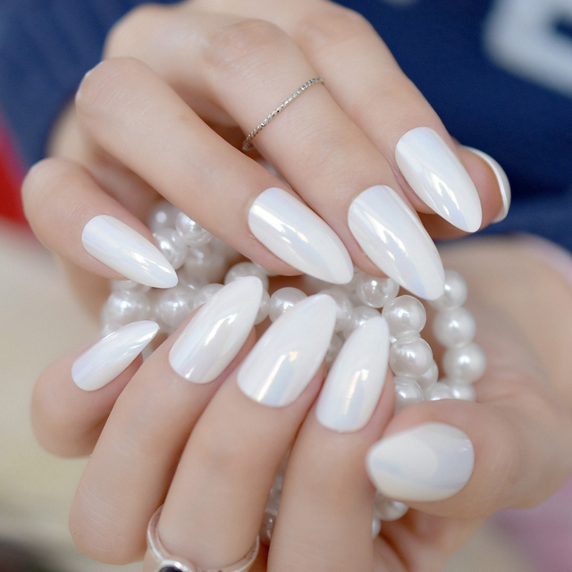 24pcs Symphony White Stiletto Nails Medium Sharp Full Wrap False Acrylic Nail Art Tips Easy Diy