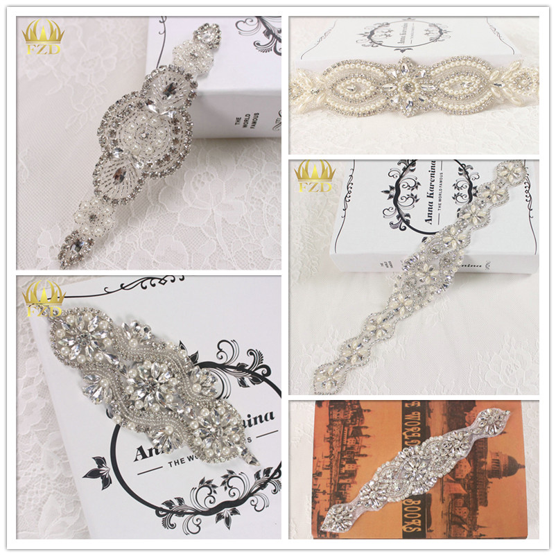 (5pieces) Hot Sale Rhinestone Applique Strass Sew On Hotfix Sew On Bling Applique for Wedding Dresses DIY Bridal Sash Sample