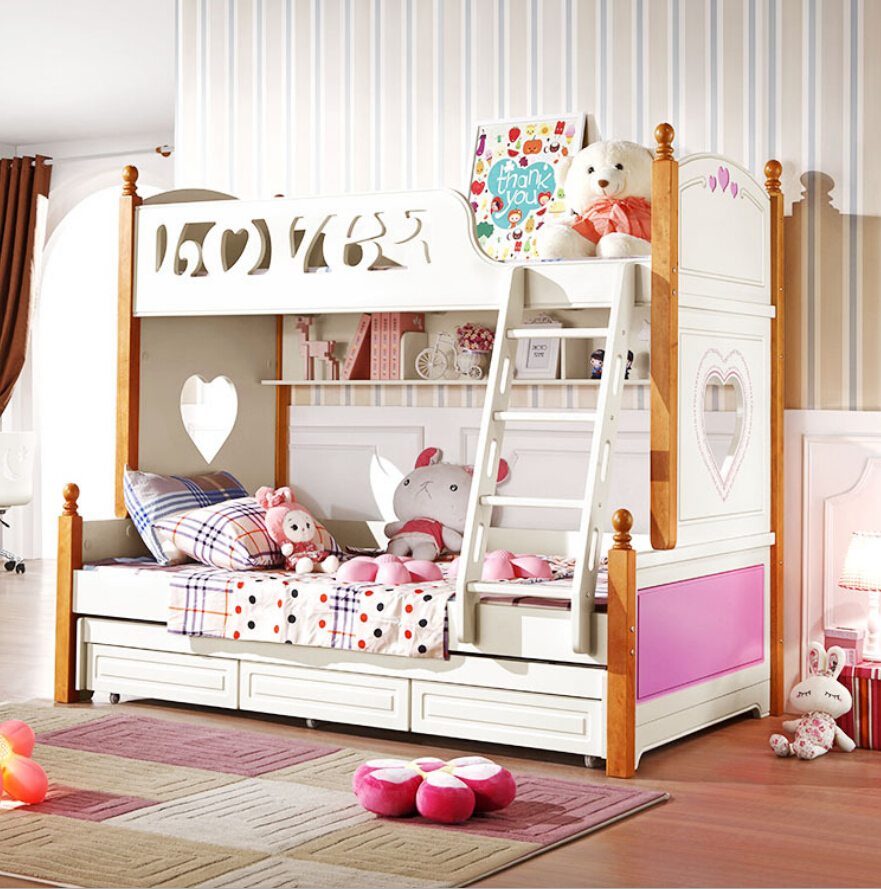 Webetop Modern Home Furniture Wooden Bunk Bed Young Girls Bed Beliche New Energetic Color Double