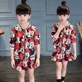 Otoño invierno ropa niñas establece mickey juego del deporte del muchacho niños ocasional ropa de algodón coat + dress niños ropa sport girls traje