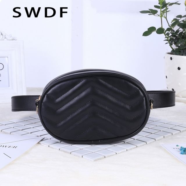 Belt Bag Waist Bag Round Fanny Pack Women Luxury Brand Leather Handbag Red Black Beige 2018 Summer High Quality Drop Shipping