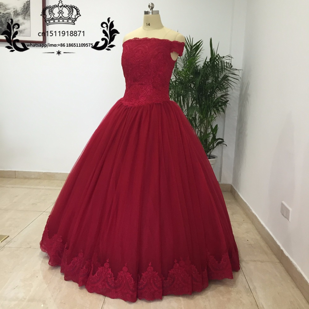 Sweet 16 Ball Gowns Quinceanera Dresses Burgundy Applique Off the Shoulder Prom Dress for Girl 15 Years vestido debutante