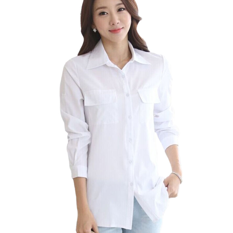 Korean Office Wear White Women Shirts Plus Size S XXXXXL Formal Loose Cotton Long Shirts Female