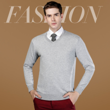 Male V-neck  collar  sweater solid color commercial quinquagenarian men's clothing sweater