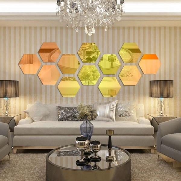 2014 Hot Sale Ikea Style Acrylic Hexagon Sofa TV Background Mirror ...