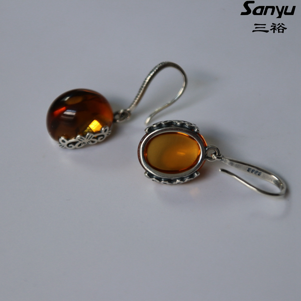 Original Burmese amber 925 silver earrings burmite unique gift+with certificated+peaceful handpolished +rare natural