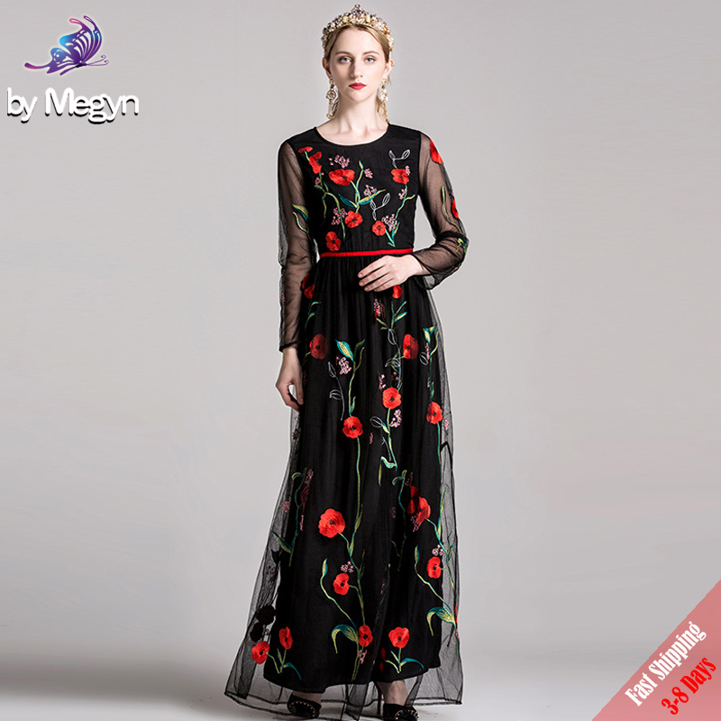 High Quality Fall Winter Runway Designer Dress 2017 Women's Black Mesh Gauze Vintage Floral Embroidery Party Long Dress free DHL