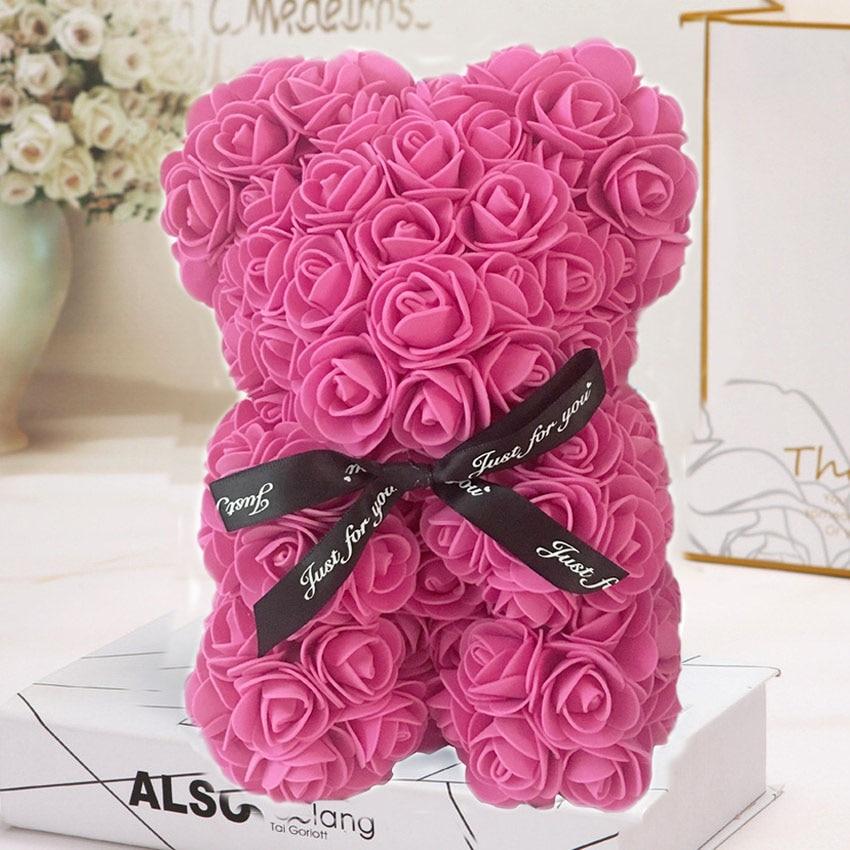 Горячая Распродажа, подарок на день Святого Валентина, 25 см, красная роза, плюшевый мишка, цветок розы, искусственное украшение, рождественские подарки для женщин, подарок на день Святого Валентина - Цвет: Rose rouge 25cmNoBox