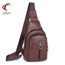 2018 Brand PU Leather Men's Chest Bag Casual Messenger Shoulder Bag Small Cell Phone Bag Strap Sling Men Chest Pack Chest Bags(China)