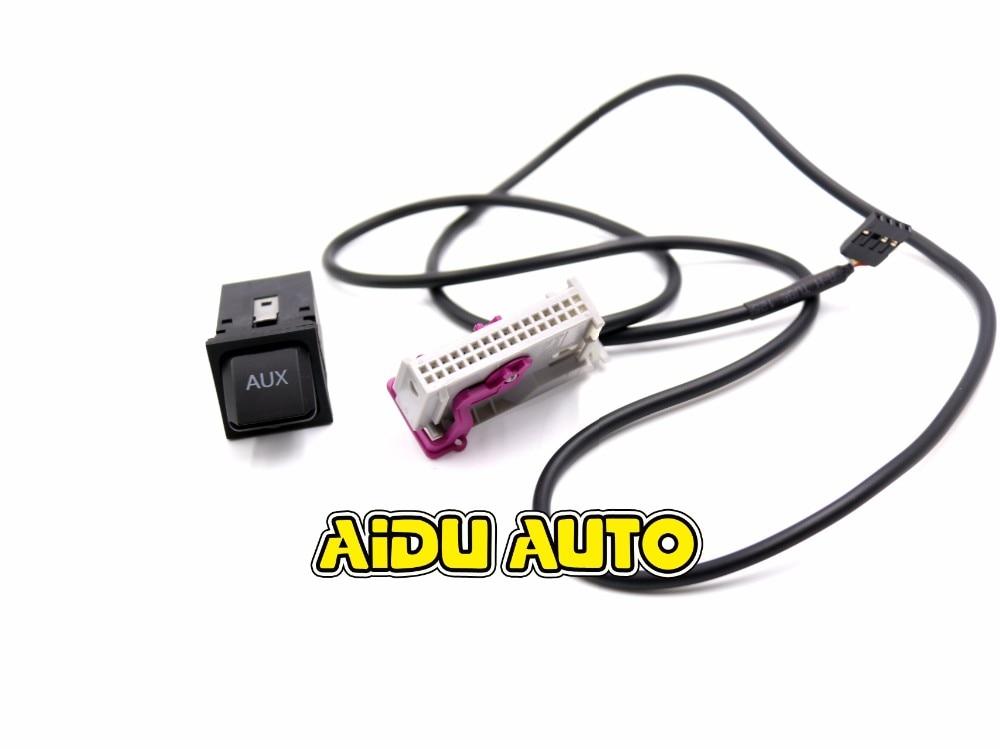 Автомобиль Aux-в RNS-E навигации AUX Кнопка Аудио Adapter Kit 32Pin разъем для Audi A3 A4 A6 A8 R8 TT