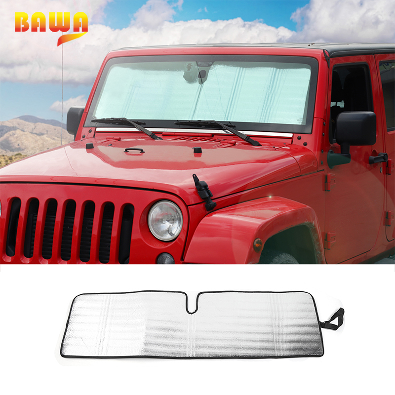 BAWA Sun Visor Car Sunshade for Jeep Wrangler JK 2007-2017 Aluminum Foil Car Sunshade Front Windshield