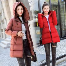 цена на Stand Collar Hooded Women Winter Jacket Slim Cotton Padded Winter Womens Jackets Long Female Coats Parkas Chaqueta Mujer
