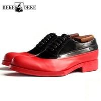 Евро Для мужчин ручной работы 100% натуральная кожа формальная обувь оксфорды геометрический платформа блок на среднем каблуке смешанные Цв
