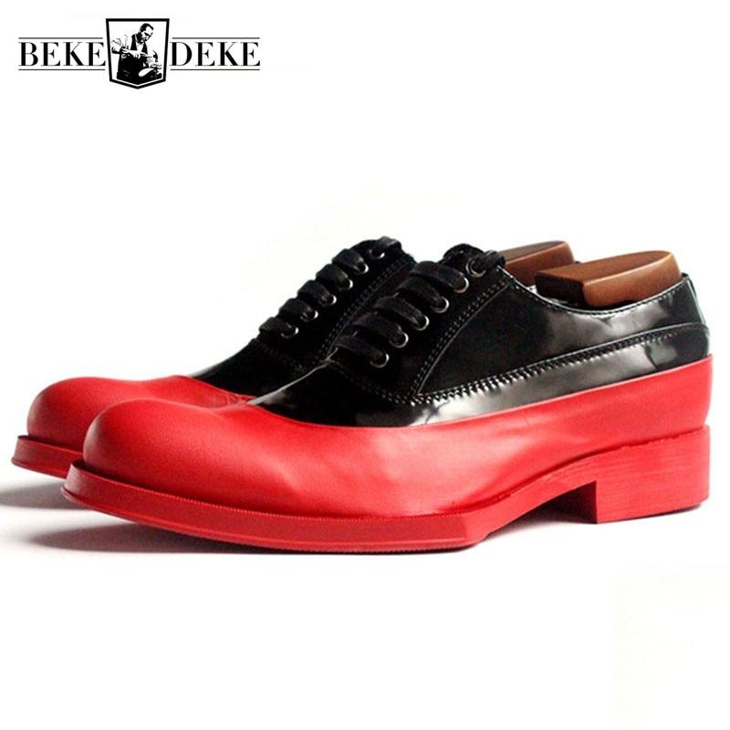 Bloque Med Color Black Boda Real Oxfords Formal Mezclado Geométrica 100 Mano Hechos Euro De Hombres white Red Cuero Black Zapatos Tacones A Vestido Hombre Plataforma SOF6wq