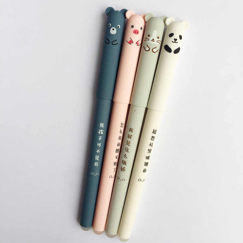 Animais dos desenhos animados caneta apagável 0.35mm bonito panda gato canetas mágicas kawaii gel canetas para a escola escrita novidade papelaria meninas presentes
