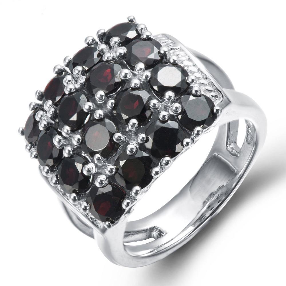 Engagement ring christmas ornament - Big Silver Rings For Women 925 Sterling Engagement Party Genuine Black Garnet Classic Cluster Christmas Gift Ornaments