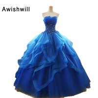 Newest Strapless Appliques Beaded Organza Ruffles Skirt Blue Quinceanera Dresses For Girl Sweet 16 Ball Gowns