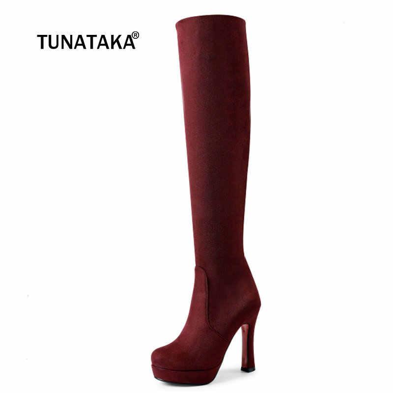 Kadın Faux Süet Kare Yüksek Topuk Diz Çizmeler Moda Kayma Platformu Yuvarlak Ayak Sonbahar Kış Ayakkabı Siyah Şarap Mavi