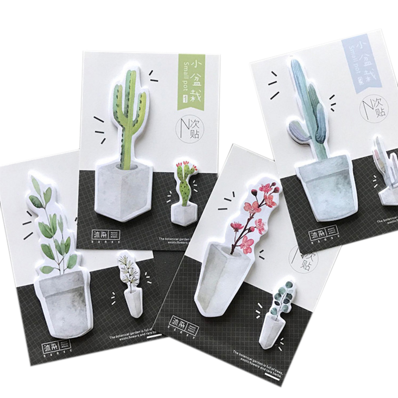 30pcs/lot Green plant small pot special DIY watercolor paper memo Sticker n times label writing notes 4 designs/school office