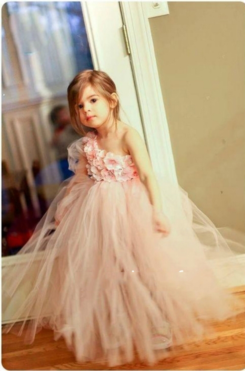 Cute Pink One Shoulder Ball Gown Flower Girl Dress Puffy Tulle ...